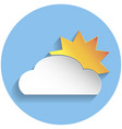 sun and cloud icon paper style vector image vector image