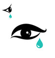tear icon and eye icon vector image