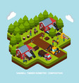 timber production isometric composition vector image vector image