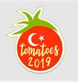 turkey tomato sticker logo this symbol is vector image