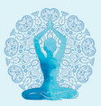 watercolor silhouette in lotus pose vector image
