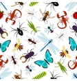 Colorful insect animals seamless pattern vector image