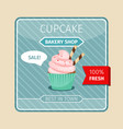 pink cupcake with chocolate tubes card vector image
