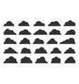 abstract clouds black flat icon set on white vector image