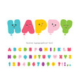 balloon comic font for kids kawaii colorful abc vector image