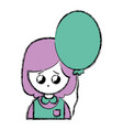 beauty girl with uniform clothes and heart balloon vector image vector image