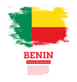 benin flag with brush strokes independence day vector image vector image