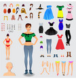 big set for creation unique woman character vector image