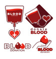 blood donation and charity isolated icons heart vector image vector image