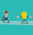 businessman run after idea bulb choices idea and vector image vector image