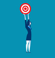 businesswoman holding target to success vector image vector image