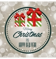 card merry christmas with gift label design vector image