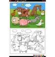 cartoon farm animals characters coloring book page vector image
