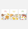 collection of poster or card templates with tasty vector image vector image