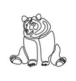 continuous one line sitting bear vector image