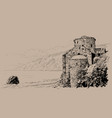 crete island ruins of the fortress on the beach vector image