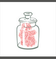 cute single rose under flask glass pink vector image vector image