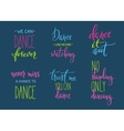 Dance studio quote lettering set vector image vector image