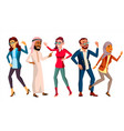 dancing people set friends disco party vector image
