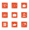 digital screen icons set grunge style vector image
