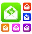 envelope with percentage set collection vector image vector image