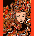 face a young girl with red curly hair and vector image