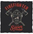firefighter t-shirt label design vector image vector image