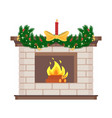 fireplace with candle and bow decor for holiday vector image
