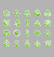 garden patch sticker icons set vector image