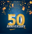 golden fifty years anniversary on dark blue vector image