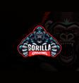 gorilla mascot esport logo design vector image vector image