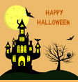 happy halloween a witch s castle with a pumpkin vector image