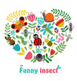 heart funny insect and plants vector image vector image
