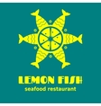 Lemon made from fish icon sign or logo vector image