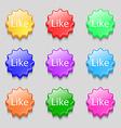 Like sign icon Symbols on nine wavy colourful
