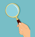 male hand holding magnifying glass vector image