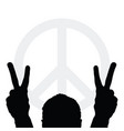 man silhouette with peace symbol vector image vector image