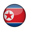 north korea flag in glossy round button of icon vector image