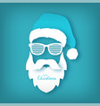 paper santa claus with glasses shutter shades vector image