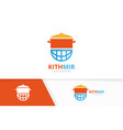 pot and planet logo combination kitchen vector image vector image