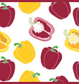 red and yellow paprika seamless pattern vector image
