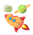 rocket space icons spaceship and planet vector image