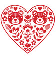 scandinavian red heart with two bears vector image vector image