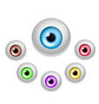 set of colorful eyes isolated on white vector image vector image