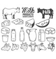 set of milk products design elements butter vector image
