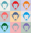 Set of Monkey color portraits vector image vector image