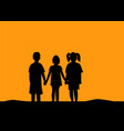 silhouette of three children friendship vector image