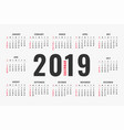 simple 2019 calendar layout design vector image vector image