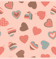 simple seamless colorful retro pattern with hearts vector image vector image