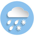 snow and rain cloud icon paper style vector image vector image